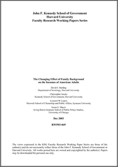 """the effects of family background on The paper provides a brief overview of the research literature on the impacts of family structure and family change on child outcomes """"effects of family."""
