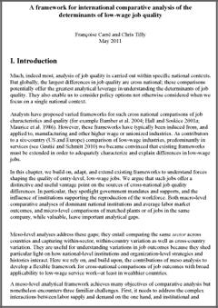 a framework for international comparative analysis of the  a framework for international comparative analysis of the determinants of low wage job quality