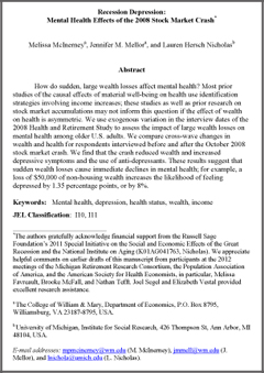 depression elderly research paper Older adults: key issues the treatment of depression in older adults us department of health and human services substance abuse and mental health services health program directors (nasmhpd) research institute, under contract number 280-04-0095 including work, hobbies, social functions, reading.